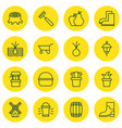 set of 16 agriculture icons includes rake vector image