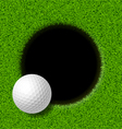 Golf ball on lip of cup vector image vector image