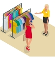 Beautiful brunette doing shopping in clothes store vector image