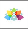 colorful lotus aura yoga meditation vector image