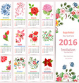 Romantic Calendar for 2016 with beautiful flowers vector image