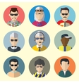 Set of Circle Icons with Man Sunglasses vector image