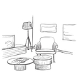Sketch of living room interior with a chair and vector image