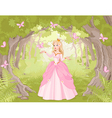 Strolling princess in the fantastic wood vector image