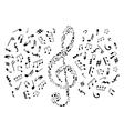 Treble clef with notes among musical symbols vector image vector image