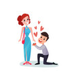 happy man proposing marriage to beautiful woman vector image