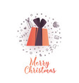 merry christmas sale poster with gift and icons vector image
