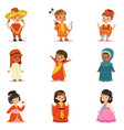 kids wearing national costumes of different vector image