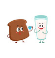 funny dark brown bread slice and milk glass vector image