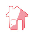 silhouette nice house with window and door vector image