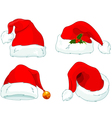 santa claus hat collection vector image vector image