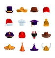 Hats And Caps Flat Color Icons vector image