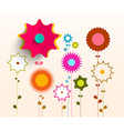 Colorful Flowers Background Retro Paper vector image