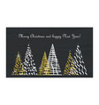christmas card gold tree vector image
