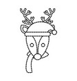 christmas reindeer with hat and scarf decoration vector image