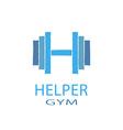 Dumbbell idea H letter logo of gym fitness blue vector image