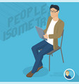 man sitting with tablet vector image
