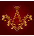 Patterned golden letter A monogram in vintage vector image