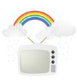 retro tv and rainbow vector image