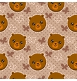 Seamless pattern with cute bear faces vector image
