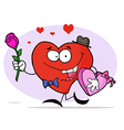 Romantic Heart Guy Carrying A Pink Rose vector image