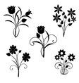 silhouette of black flowers vector image
