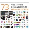 Mega collection of web mobile design elements vector image