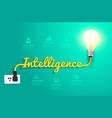 Intelligence concept with creative light bulb idea vector image vector image