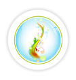 abstract life tree in round icon vector image