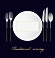 Forks spoon knives plates Serving set vector image