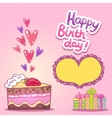 Happy Birthday card with strawberry cake vector image