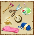 Set of tailor seven items for sewing and knitting vector image