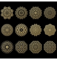 Set of twelve gold mandalas Geometric circle vector image