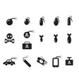 tnt and poison bomb icons in silhouette style vector image
