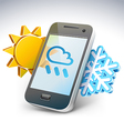 Weather on smartphone - vector image