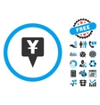 Yuan Map Pointer Flat Icon with Bonus vector image