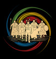 group of spartan warrior roman fighter walking w vector image