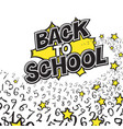 back to school black and yellow comic retro vector image