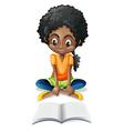 A Black girl reading vector image vector image