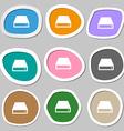 CD-ROM icon symbols Multicolored paper stickers vector image