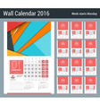 Calendar for 2016 Year Design Clean Template with vector image