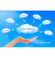 cloud computing background with hand vector image vector image