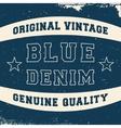Vintage denim label vector image