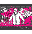 gangster with grunge background vector image vector image