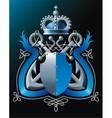 Anchors crown and blue ribbon vector image