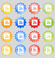 RSS feed icon sign Set from fourteen multi-colored vector image