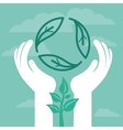 recycle emblem with human hands vector image vector image