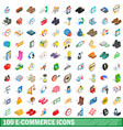 100 e-commerce icons set isometric 3d style vector image