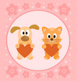 background card with funny cartoon cat and dog vector image