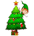 A coloured sketch of a christmas tree vector image
